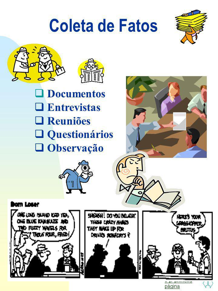 Coleta de Fatos Documentos Entrevistas Reuniões Questionários