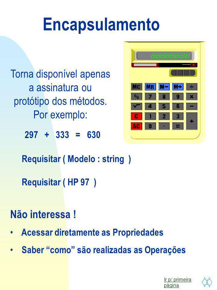 Encapsulamento Torna disponível apenas a assinatura ou protótipo dos métodos. Por exemplo: 297 + 333 = 630.