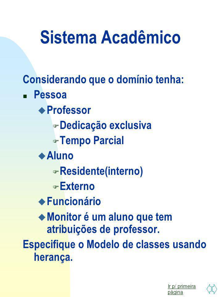Sistema Acadêmico Considerando que o domínio tenha: Pessoa Professor