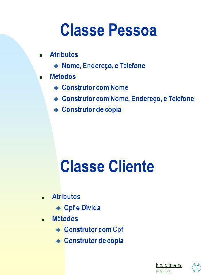 Classe Pessoa Classe Cliente Atributos Nome, Endereço, e Telefone