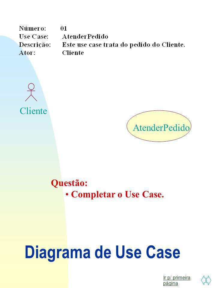 Diagrama de Use Case Cliente AtenderPedido Questão: