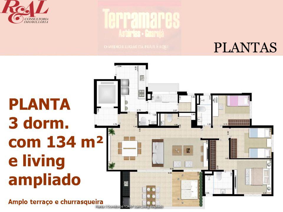 PLANTA 3 dorm. com 134 m² e living ampliado PLANTAS