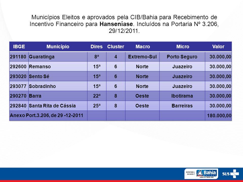 Municípios Eleitos e aprovados pela CIB/Bahia para Recebimento de Incentivo Financeiro para Hanseníase. Incluídos na Portaria Nº 3.206, 29/12/2011.