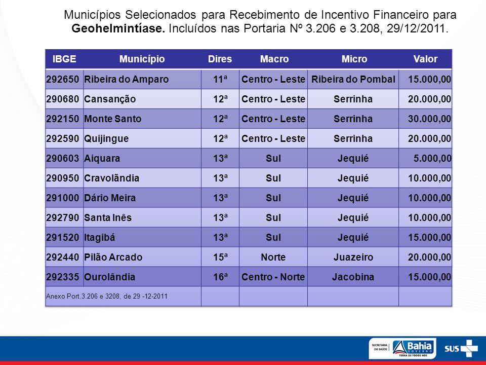 Municípios Selecionados para Recebimento de Incentivo Financeiro para Geohelmintíase. Incluídos nas Portaria Nº 3.206 e 3.208, 29/12/2011.