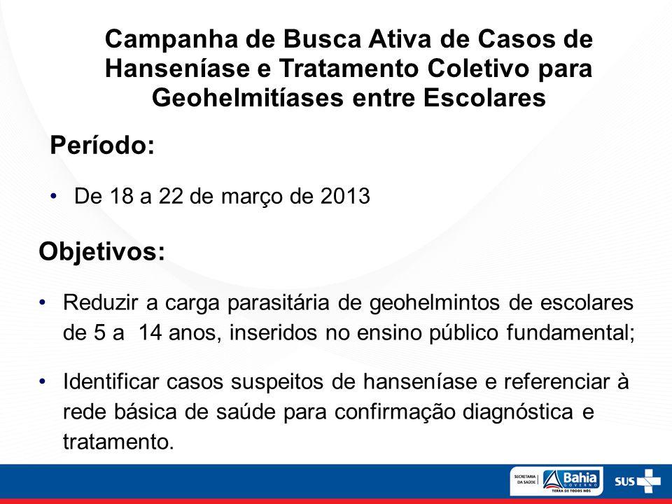 Campanha de Busca Ativa de Casos de Hanseníase e Tratamento Coletivo para Geohelmitíases entre Escolares