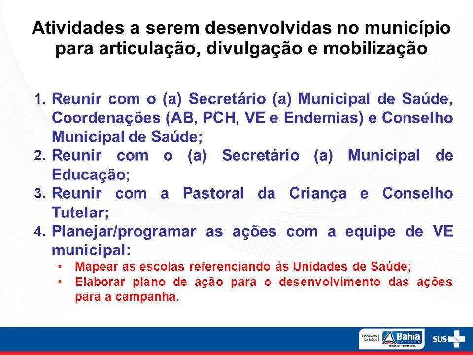 Atividades a serem desenvolvidas no município para articulação, divulgação e mobilização
