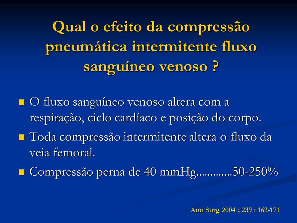 Qual o efeito da compressão pneumática intermitente fluxo sanguíneo venoso