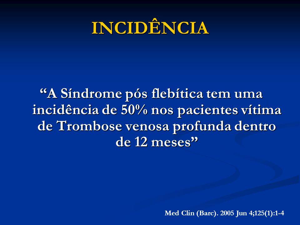 INCIDÊNCIA A Síndrome pós flebítica tem uma incidência de 50% nos pacientes vítima de Trombose venosa profunda dentro de 12 meses