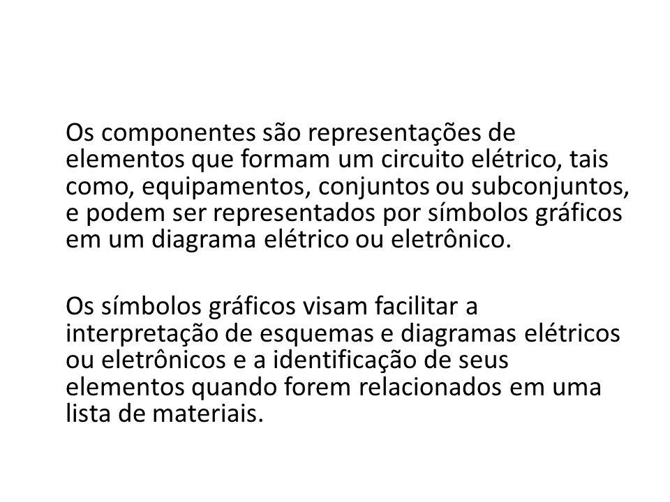 Os componentes são representações de elementos que formam um circuito elétrico, tais como, equipamentos, conjuntos ou subconjuntos, e podem ser representados por símbolos gráficos em um diagrama elétrico ou eletrônico.