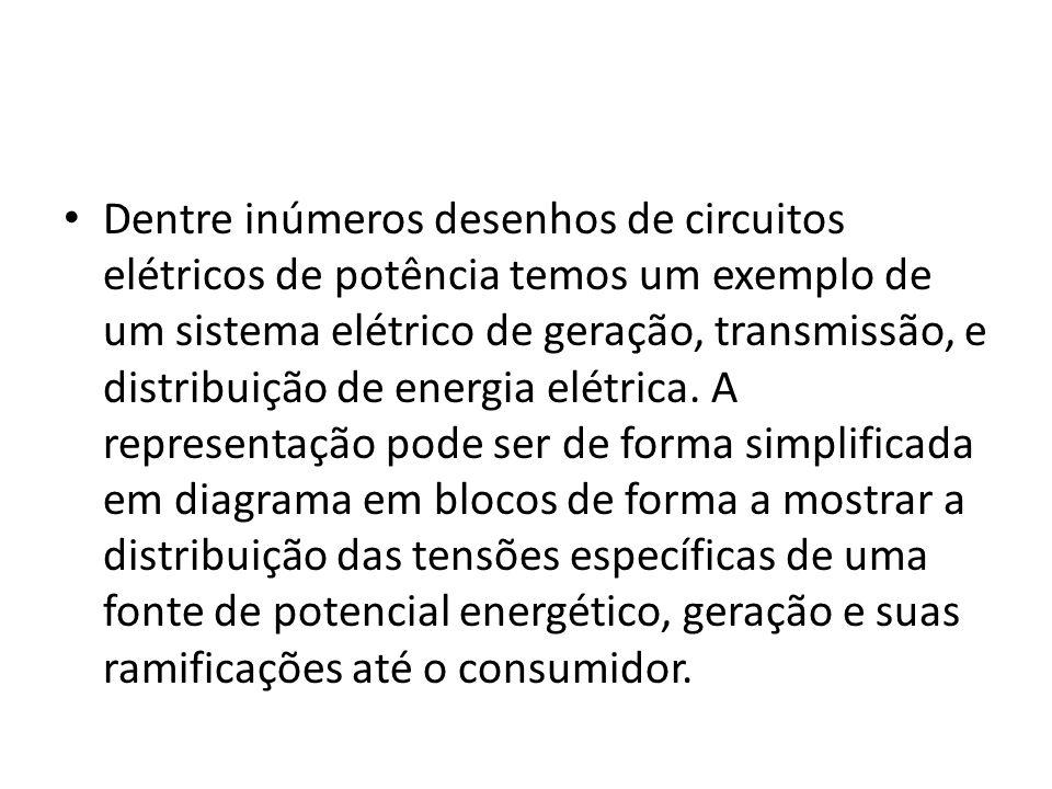 Dentre inúmeros desenhos de circuitos elétricos de potência temos um exemplo de um sistema elétrico de geração, transmissão, e distribuição de energia elétrica.