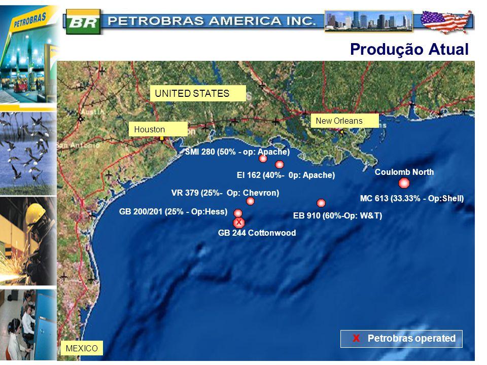 Produção Atual UNITED STATES X Petrobras operated New Orleans Houston