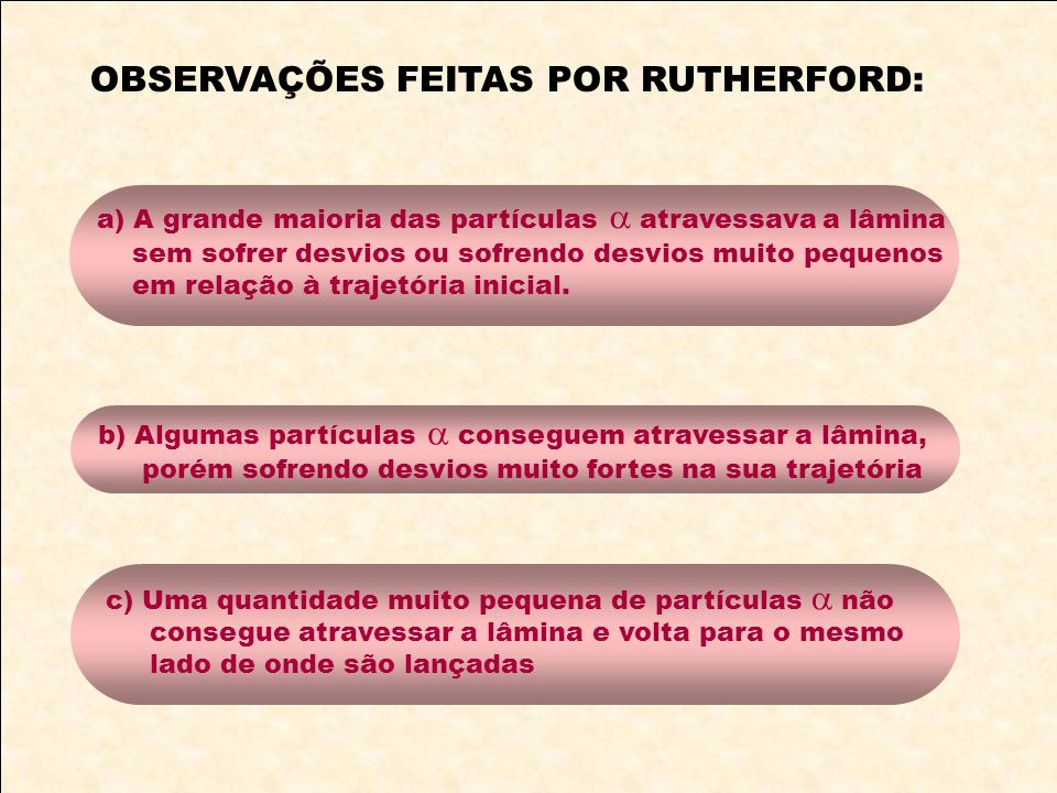 OBSERVAÇÕES FEITAS POR RUTHERFORD: