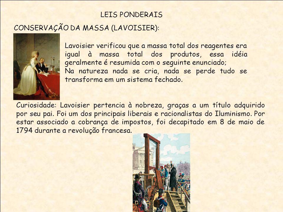LEIS PONDERAIS CONSERVAÇÃO DA MASSA (LAVOISIER):