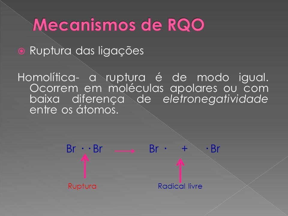 Mecanismos de RQO Ruptura das ligações