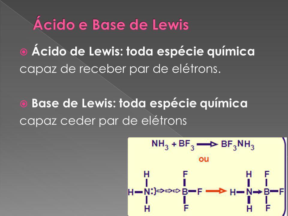Ácido e Base de Lewis Ácido de Lewis: toda espécie química