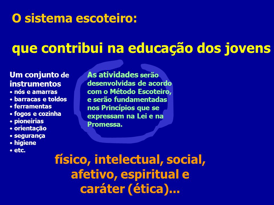 físico, intelectual, social, afetivo, espiritual e caráter (ética)...
