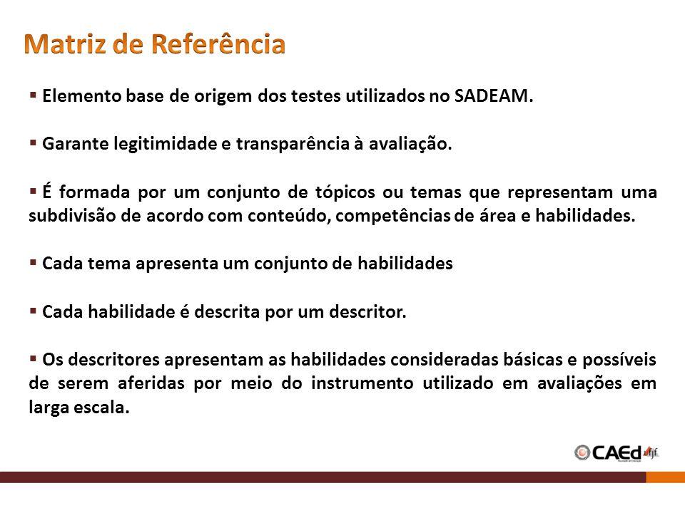 Matriz de Referência Elemento base de origem dos testes utilizados no SADEAM. Garante legitimidade e transparência à avaliação.