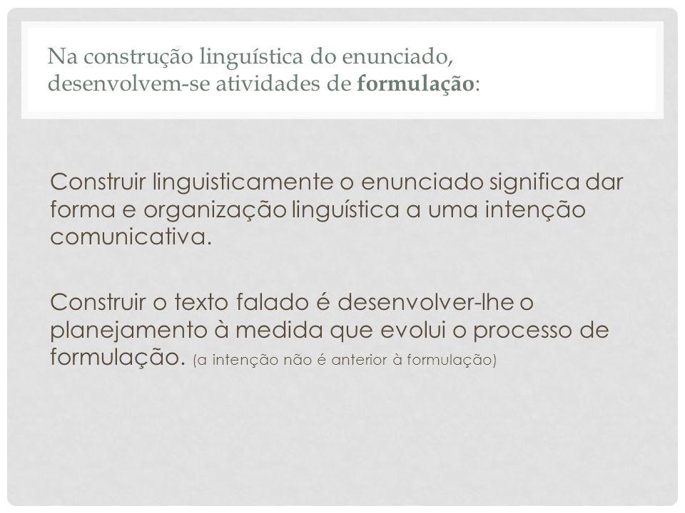 Na construção linguística do enunciado, desenvolvem-se atividades de formulação: