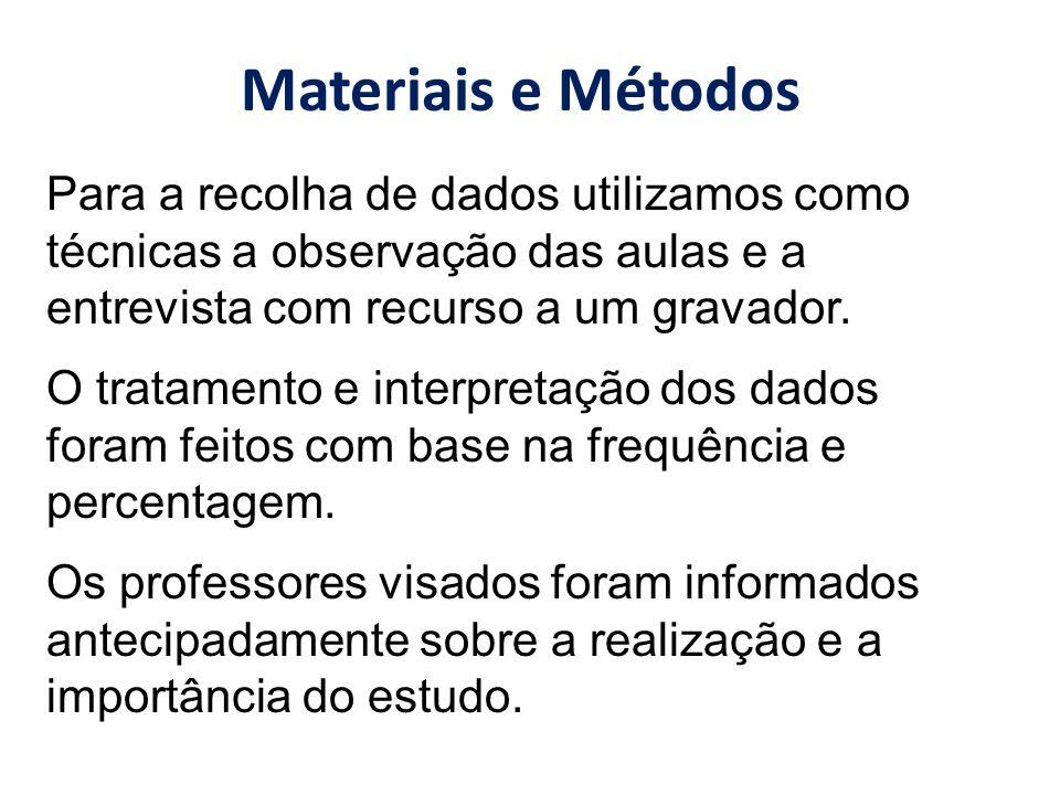 Materiais e Métodos Para a recolha de dados utilizamos como técnicas a observação das aulas e a entrevista com recurso a um gravador.