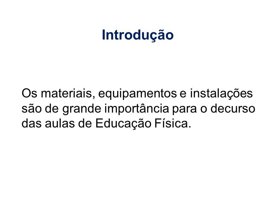 Introdução Os materiais, equipamentos e instalações são de grande importância para o decurso das aulas de Educação Física.