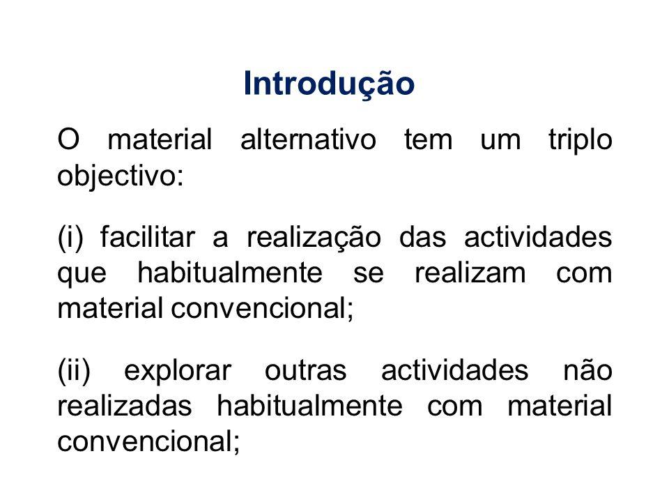 Introdução O material alternativo tem um triplo objectivo: