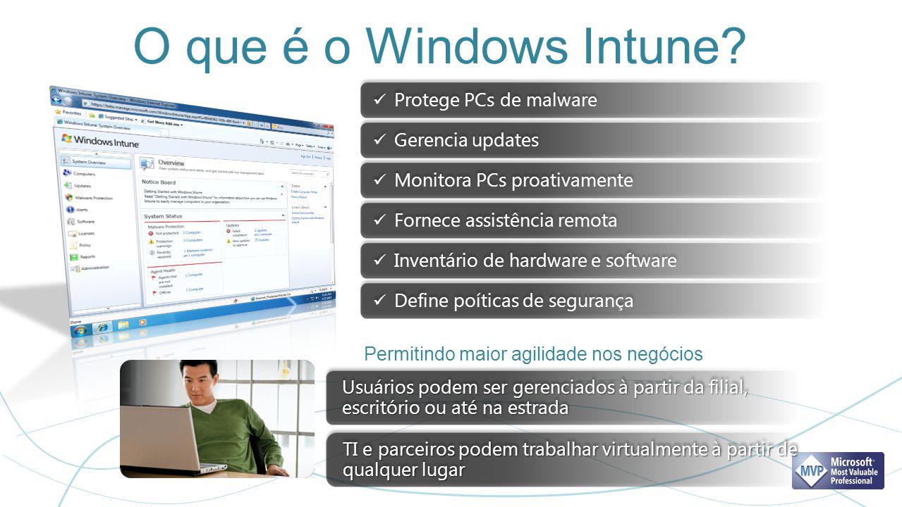 O que é o Windows Intune Protege PCs de malware Gerencia updates