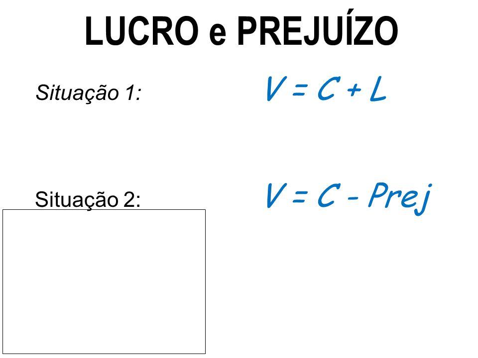 LUCRO e PREJUÍZO Situação 1: V = C + L.