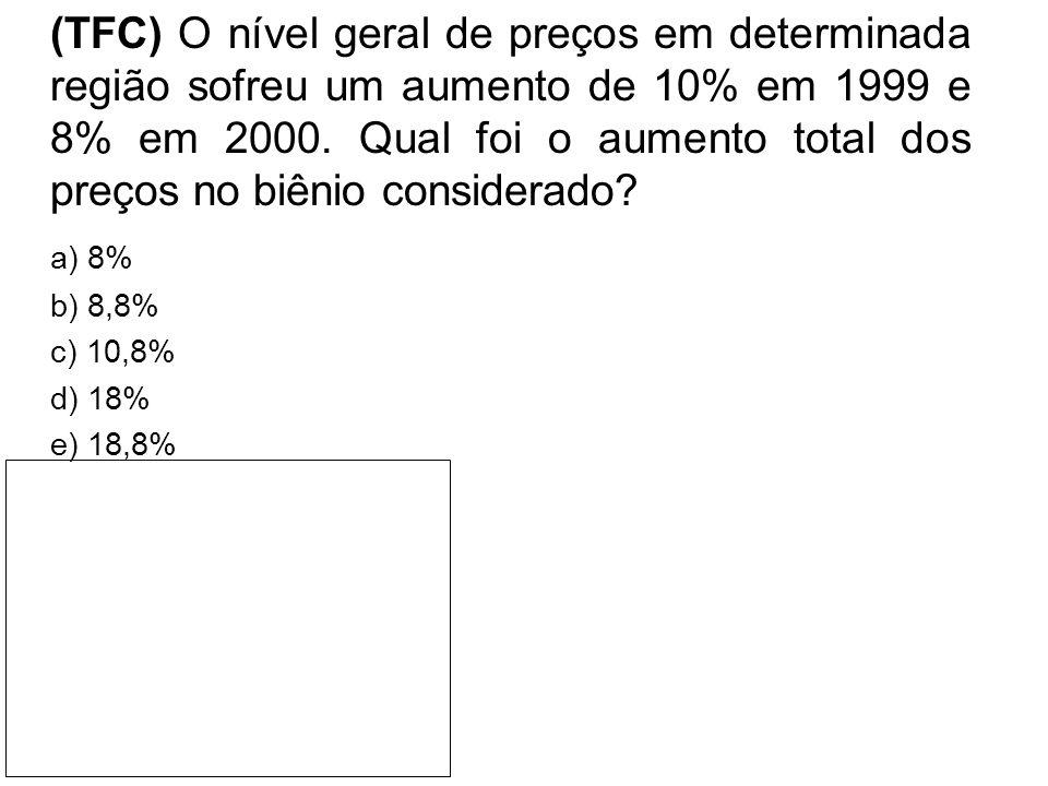 (TFC) O nível geral de preços em determinada região sofreu um aumento de 10% em 1999 e 8% em 2000. Qual foi o aumento total dos preços no biênio considerado