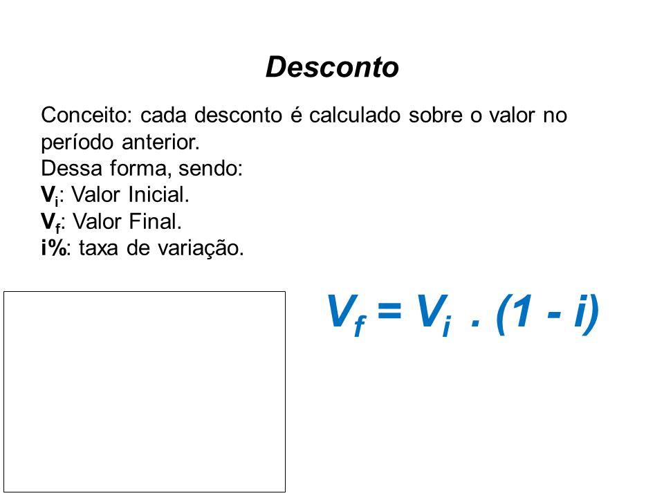 Desconto Conceito: cada desconto é calculado sobre o valor no período anterior. Dessa forma, sendo: