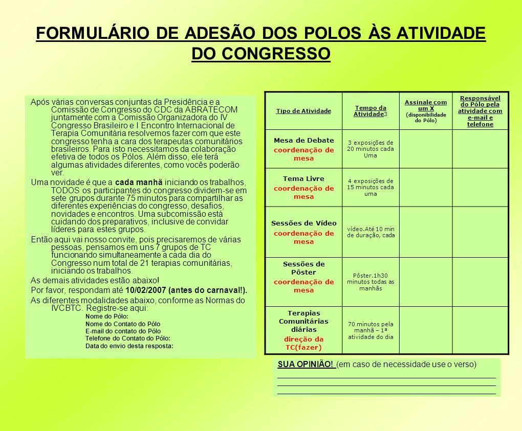 FORMULÁRIO DE ADESÃO DOS POLOS ÀS ATIVIDADE DO CONGRESSO