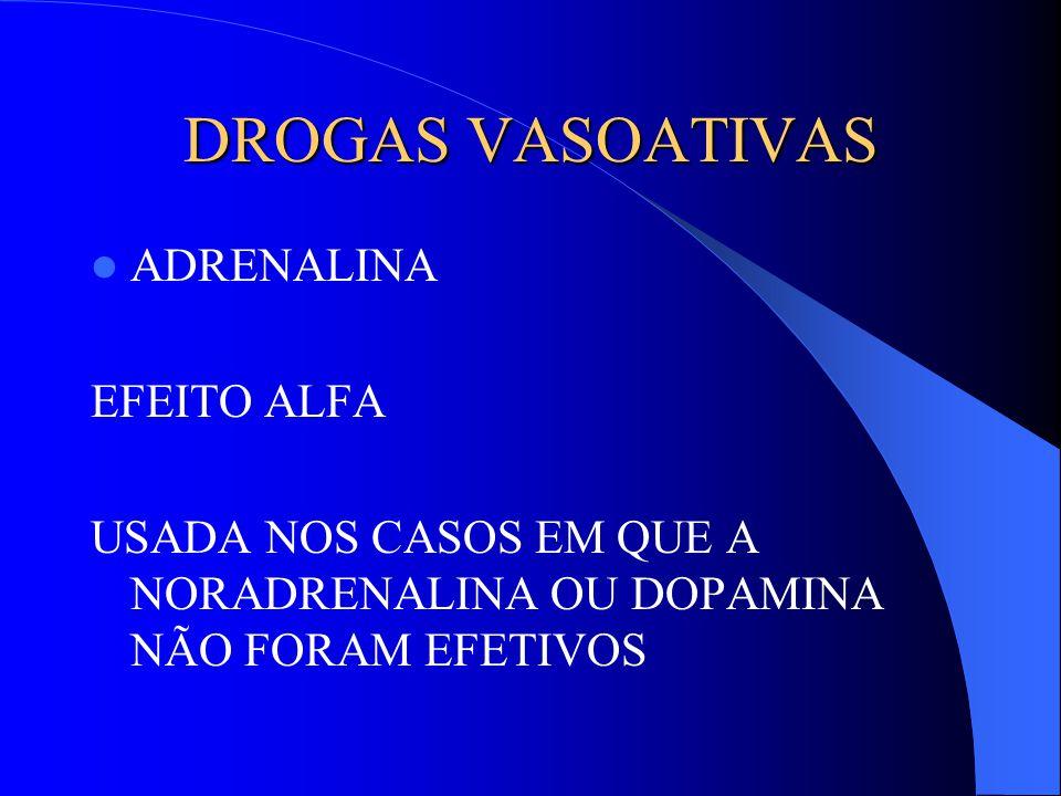 DROGAS VASOATIVAS ADRENALINA EFEITO ALFA