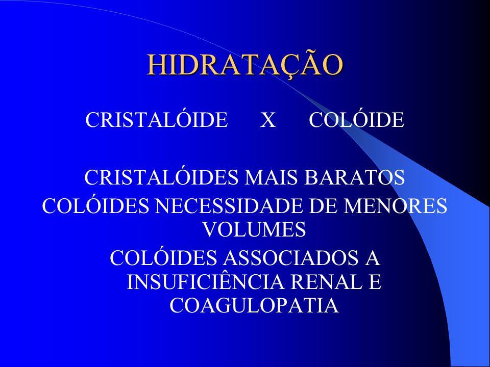 HIDRATAÇÃO CRISTALÓIDE X COLÓIDE CRISTALÓIDES MAIS BARATOS