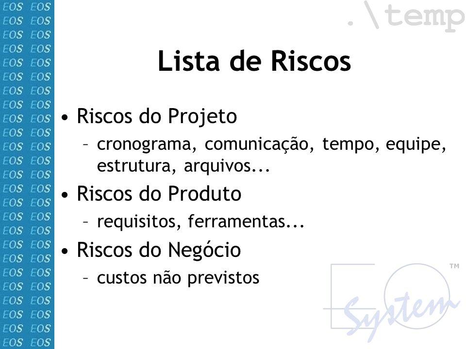 Lista de Riscos Riscos do Projeto Riscos do Produto Riscos do Negócio