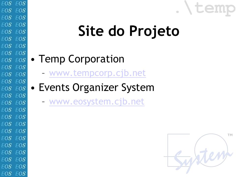 Site do Projeto Temp Corporation Events Organizer System