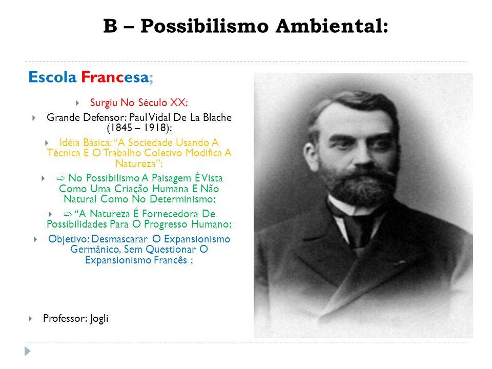 B – Possibilismo Ambiental: