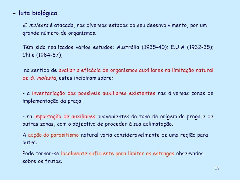 - luta biológica G. molesta é atacada, nos diversos estados do seu desenvolvimento, por um grande número de organismos.