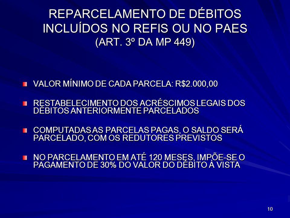 REPARCELAMENTO DE DÉBITOS INCLUÍDOS NO REFIS OU NO PAES (ART