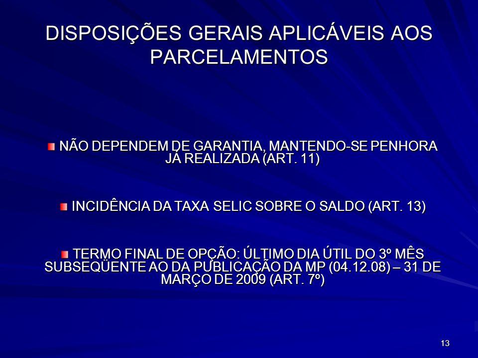 DISPOSIÇÕES GERAIS APLICÁVEIS AOS PARCELAMENTOS