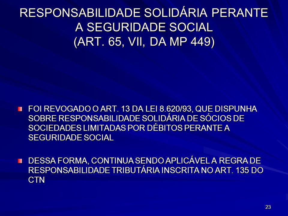RESPONSABILIDADE SOLIDÁRIA PERANTE A SEGURIDADE SOCIAL (ART