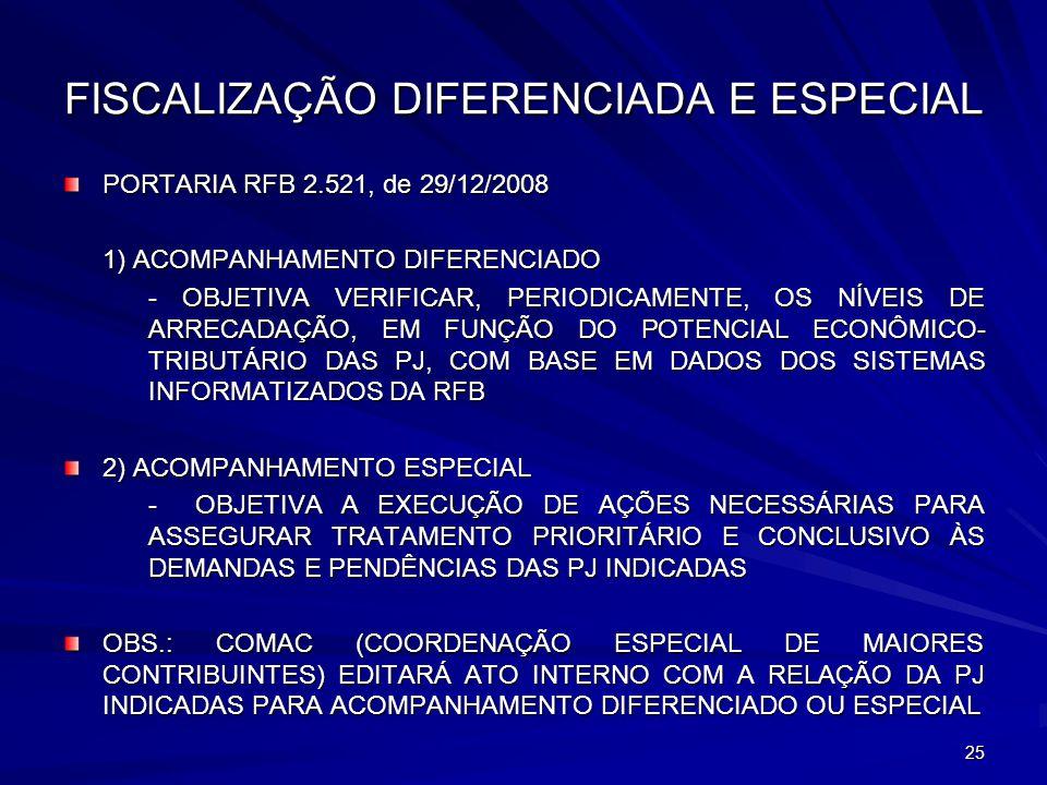 FISCALIZAÇÃO DIFERENCIADA E ESPECIAL