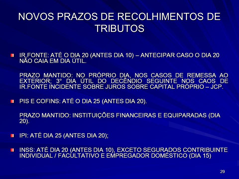 NOVOS PRAZOS DE RECOLHIMENTOS DE TRIBUTOS