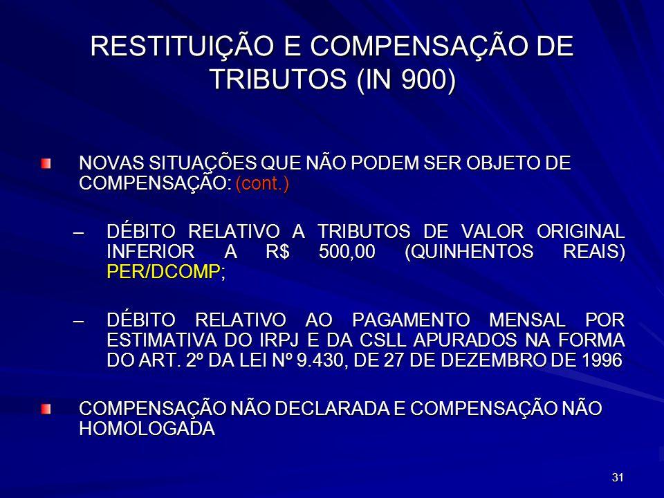 RESTITUIÇÃO E COMPENSAÇÃO DE TRIBUTOS (IN 900)