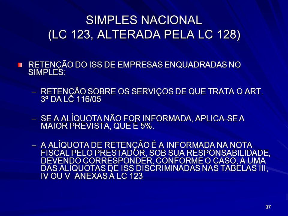 SIMPLES NACIONAL (LC 123, ALTERADA PELA LC 128)