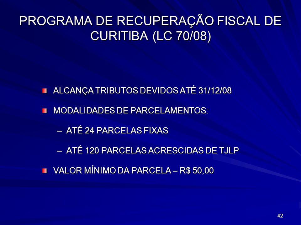 PROGRAMA DE RECUPERAÇÃO FISCAL DE CURITIBA (LC 70/08)