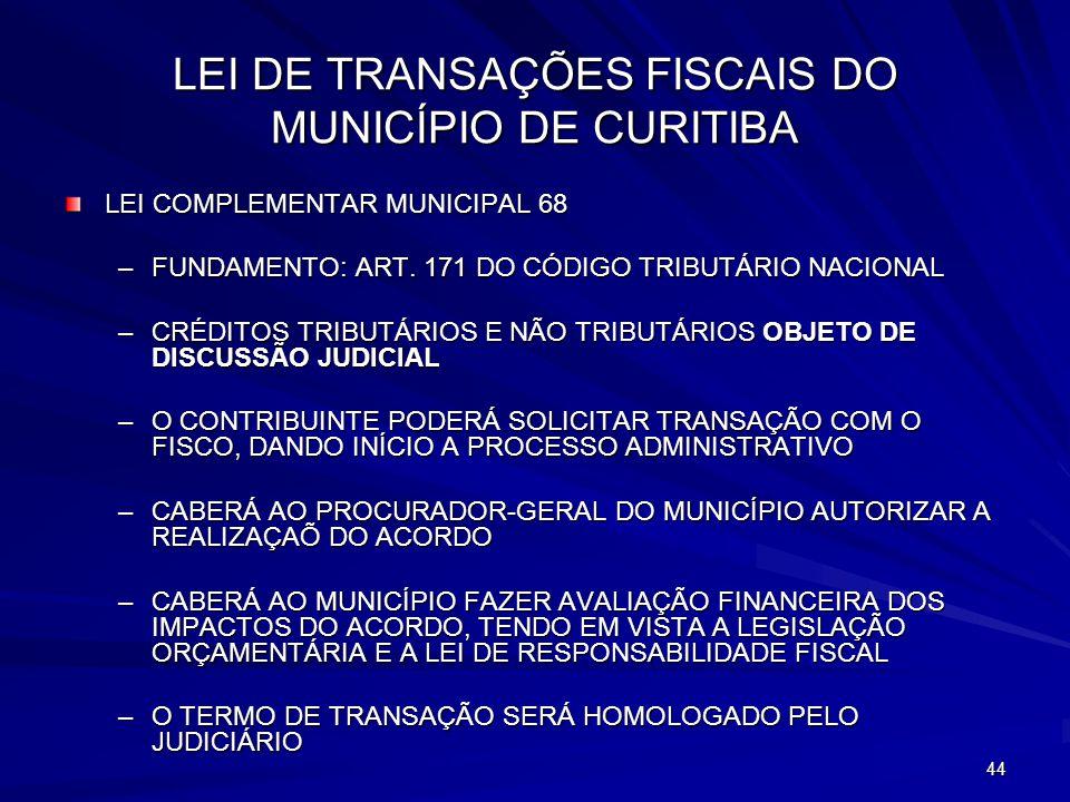 LEI DE TRANSAÇÕES FISCAIS DO MUNICÍPIO DE CURITIBA