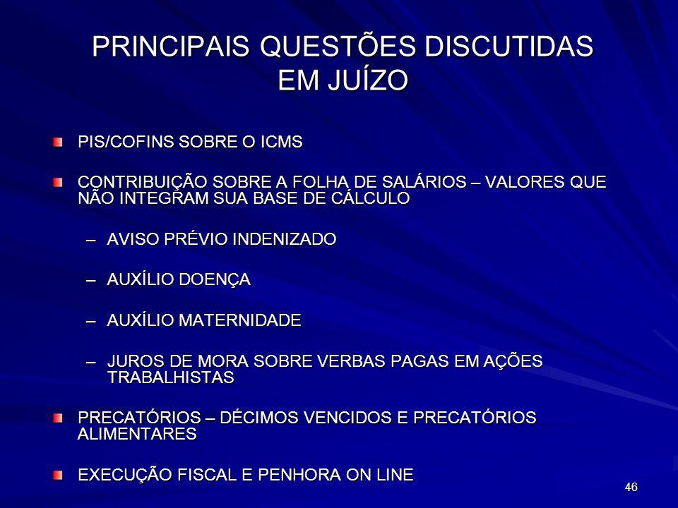 PRINCIPAIS QUESTÕES DISCUTIDAS EM JUÍZO