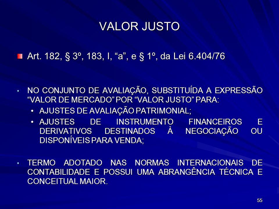 VALOR JUSTO Art. 182, § 3º, 183, I, a , e § 1º, da Lei 6.404/76