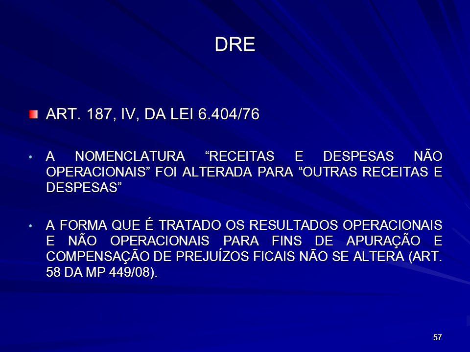 DRE ART. 187, IV, DA LEI 6.404/76. A NOMENCLATURA RECEITAS E DESPESAS NÃO OPERACIONAIS FOI ALTERADA PARA OUTRAS RECEITAS E DESPESAS