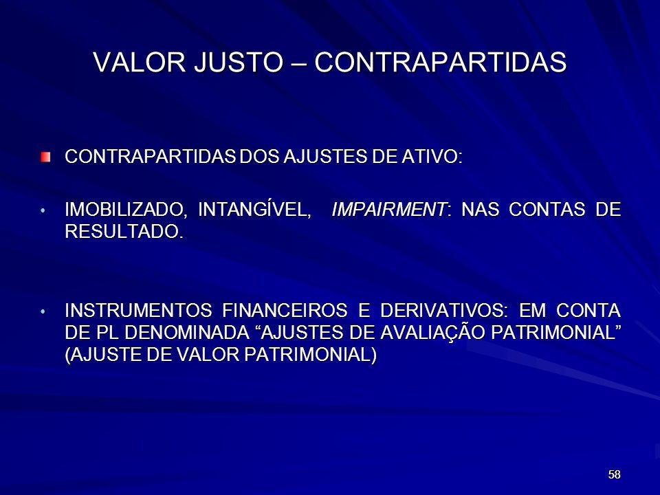 VALOR JUSTO – CONTRAPARTIDAS