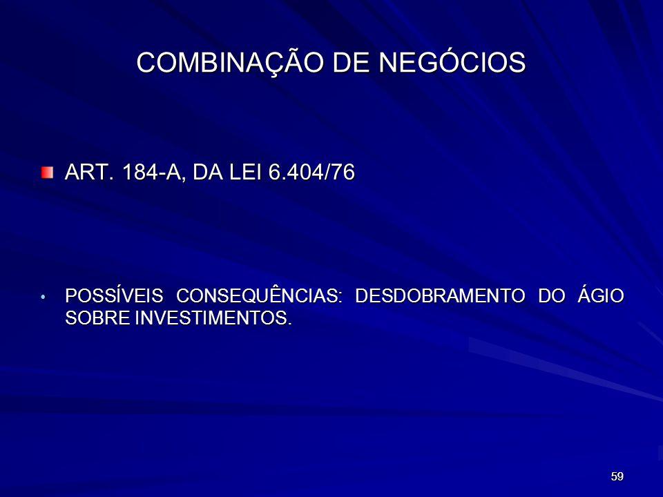 COMBINAÇÃO DE NEGÓCIOS